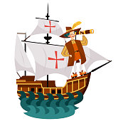 Columbus Day poster with Columb looking at spyglass. Greeting or invitation card with Caravel Santa Maria floating on the sea waves and great spanish sailor with glass vector illustration