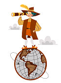 Columbus Day poster with Columb on globe. Greeting or invitation card with great spanish sailor standing on symbol of Earth and looking in spyglass vector illustration. Clouds on background