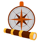 Columbus Day poster with compass and spyglass symbol. Greeting or invitation card for American national holiday with glass and wind rose vector illustration. Isolated on white