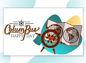 Columbus Day poster with map and helm symbol. United States national holiday invitation with retro world globe and steering wheel vector illustration lettering text logo design for greeting card