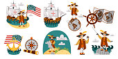 Columbus Day set with ship map helm compass symbols. Collection consist with Caravel Santa Maria Columb with american flag wind rose spyglass and sword vector illustration