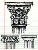 Corinthian, Ionic, and Doric capital sketches on notebook paper. The artwork and paper are on separate labeled layers.  Corinthian(top), Ionic(bottom left), Doric(bottom right).