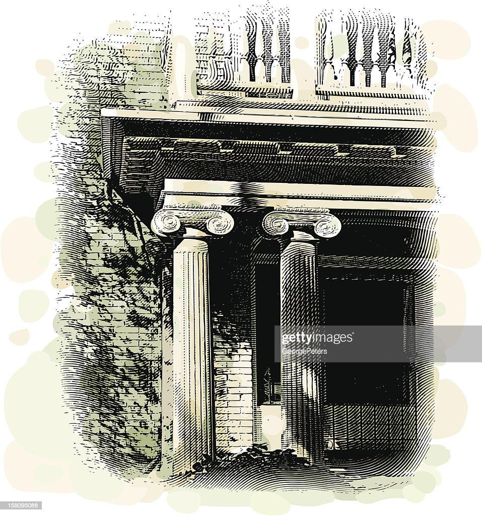 Columns and Elegant Entrance : Vector Art