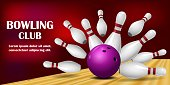 Come to bowling banner. Realistic illustration of come to bowling vector banner for web