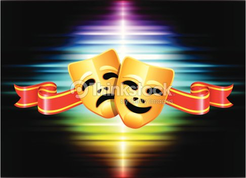 Comedy And Tragedy Mask On Abstract Spectrum Background ...