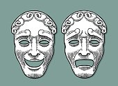 Comedy and tragedy theater masks. Vector engraving vintage black illustration. Isolated on turquoise background with shadow.