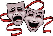Vector illustration of comedy and tragedy theater masks with a red ribbon.