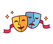 Traditional theater symbol, comedy and tragedy masks with red ribbon. Yellow happy and blue sad mask icon, vector illustration.