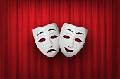 Comedy and Tragedy theatrical mask isolated on a red curtain background. Vector illustration