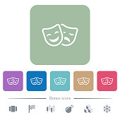 Comedy and tragedy theatrical masks white flat icons on color rounded square backgrounds. 6 bonus icons included
