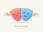 Theater masks for comedy and tragedy with happy and sad face emotions. Vector illustration in scribble line art style.