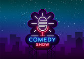 Comedy Show Stand Up invitation is a neon sign. Emblem Bright flyer, light poster, neon banner, brilliant night commercials advertisement, card, postcard. Vector illustration.