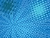 Pop art comic background speed beams halftone dots. Cartoon Vector Illustration on blue
