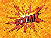 Boom comic speech bubble cartoon lightning blast.  Vector Illustration.