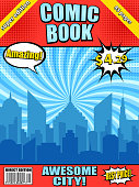 Comic book cover template with blue city silhouette white speech bubbles barcode radial halftone effects and different inscriptions. Vector illustration