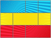 Comic book horizontal template with radial and halftone effects in blue yellow red colors. Vector illustration
