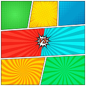 Comic book page background with radial halftone effects, rays and versus wording scene in pop-art style. Colorful blank template. Vector illustration