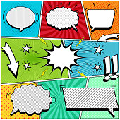 Comic book page background with white speech bubbles arrows stars exclamation points lightnings sound halftone rays dotted striped and radial effects in pop-art style. Vector illustration