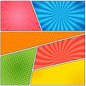 Comic book page colorful abstract template with bright frames and different funny effects. Vector illustration