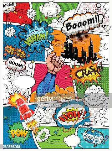 コミックブックページで分割されます。レトロな背景飾ります。 : ベクトルアート