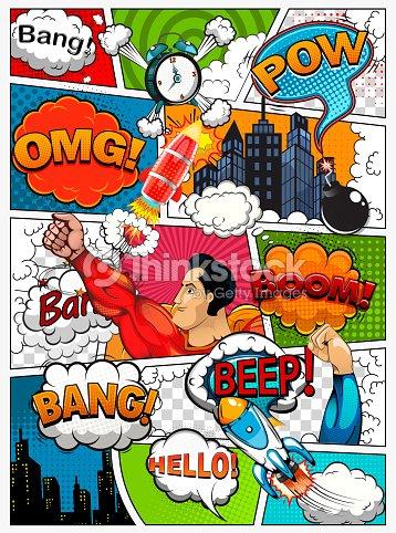 コミック ページ スピーチの泡ロケットスーパー ヒーローサウンド効果と