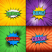 Comic book pages bright set with colorful speech bubbles Crush Bang Crash wordings radial halftone and rays humor effects. Vector illustration