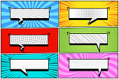 Comic book pages collection with six blank rectangular speech bubbles sound rays radial and halftone effects on red blue pink green turquoise yellow backgrounds. Vector illustration