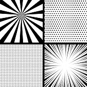Comics Book Monochrome Template Background Pop Art Black White Empty Backdrop Mock Up Vector
