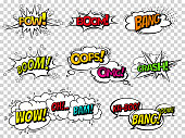 Comic book sound effect speech bubbles, expressions. Collection vector bubble icon speech phrase, cartoon exclusive font label tag expression, sounds illustration background. Comics book balloon.