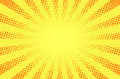 Comic book style background. Halftone texture, vintage dotted background in pop art style. Retro sun rays, sunbeams. Vector