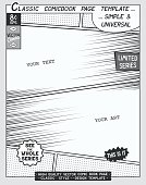 Free space Comic book page template. Comics layout and action with speed lines,
