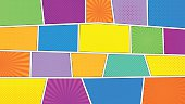 Comic strip background with 16 9 aspect ratio. Different colorful panels. Rays, lines, dots. Template, vector eps 10