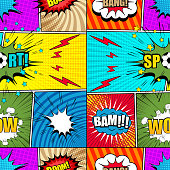 Comic bright seamless pattern with colorful speech bubbles clouds different wordings soccer ball lightnings stars and humor effects. Vector illustration