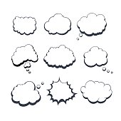 Set Of Original Quality Hand Drawn Comic Dream Bubbles Isolated On White