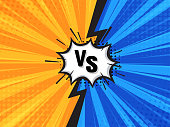 Comic Fighting Cartoon Background.Blue Vs Yellow. Vector Illustration.
