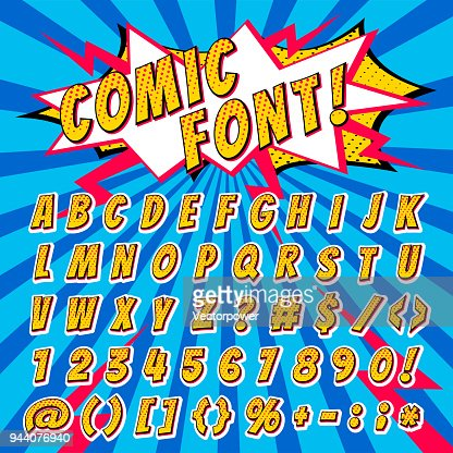 Comic font vector cartoon alphabet letters in pop art style and alphabetic text icons for typography illustration alphabetically typeset of abc and numbers on popart background : Arte vetorial