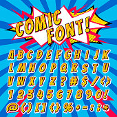 Comic font vector cartoon alphabet letters in pop art style and alphabetic text icons for typography illustration alphabetically typeset of abc and numbers on popart background.