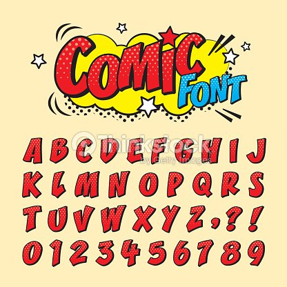 comic font_red : stock vector
