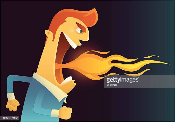 Comic graphic of man breathing fire against dark background