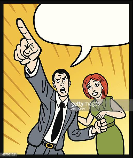 Comic Man Pointing With Woman