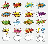 Set of vector comic sound effects and dialog clouds