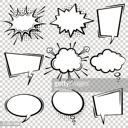Comic speech bubble set. Black and white speech boxes. : arte vetorial