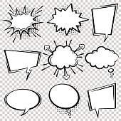 Comic Speech Bubble Set Empty Cartoon Black And White Cloud Pop Art Expression Boxes