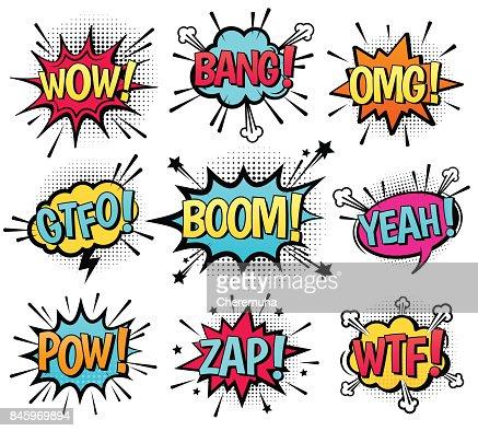 Comic speech bubble set with text. : arte vetorial