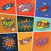 Wording in comic speech bubble in pop art style on burst background