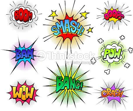comic speech bubbles and sound effects vector set vector art