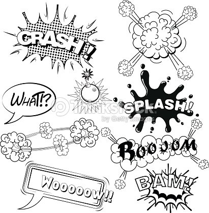 comic speech bubbles sound effects splash crash cloud explosion