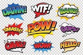 Set of vector comic speech bubbles on transparency background. Bright dynamic pop art design elements. Funny sound effects and expression words.
