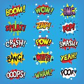 Set of colorful comic speech bubbles with sounds.