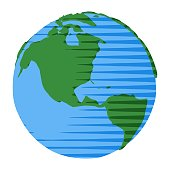 Comic style globe with USA and Canada in comic style globe for simple nature illustration or icon